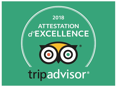 Attestation d'Excellence par Trip Advisor